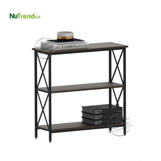 Industrial 3 Tier Narrow Wood console Table with drawer furniture factory china