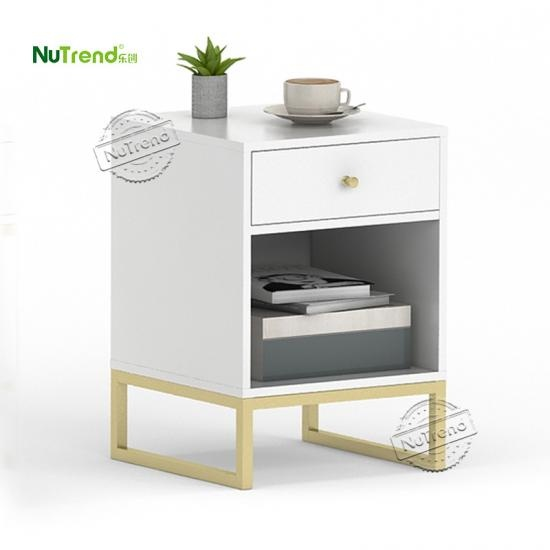 Gold Metal and Wood end table Furniture Supplier in China