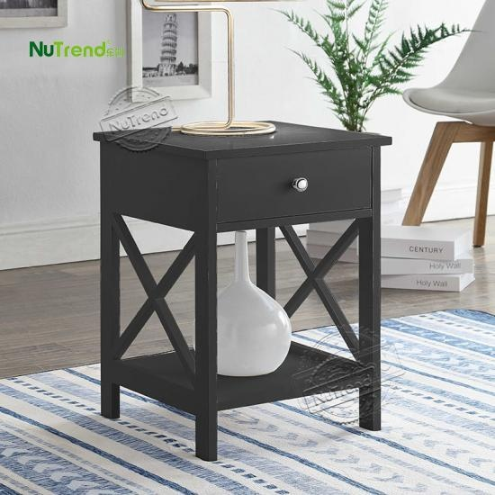 wholesale Unique Cross X Frame Small wooden End Table furniture factory
