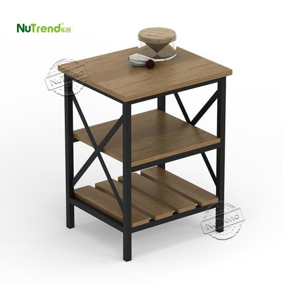 Wooden Rustic X Base 3 Tier Accent Side End Table manufacturer in China