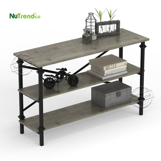contemporary wood and iron 3 tier console table factory Supplier