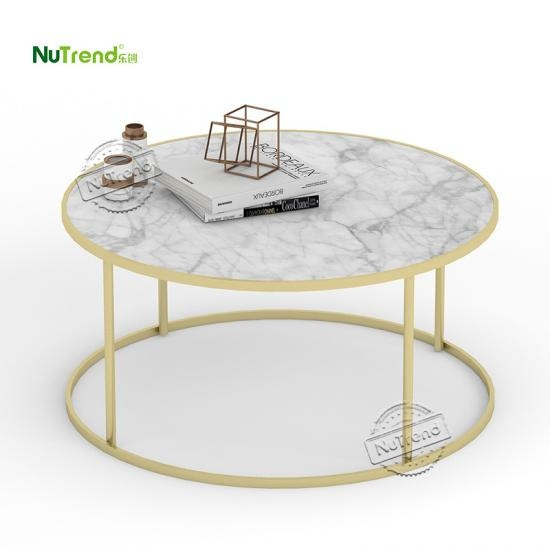 round gold and white metal frame cocktail coffee table Furniture Supplier in China